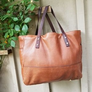 J Crew Newsstand XL Shopper Tote Leather Handbag